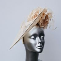 Champagne Mother of the Bride 3D hatinator with silk flowers 16434
